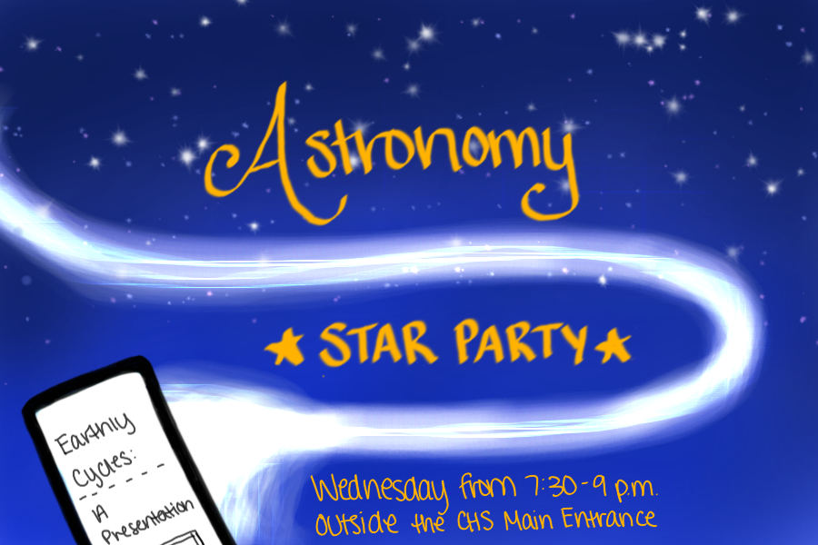 Coppell High School astronomy students created technology-based presentations for their astronomy party. The party is on Wednesday outside the CHS Main Entrance from 7:30-9 p.m, where attendees can learn about the night sky, play games, eat treats and stargaze.