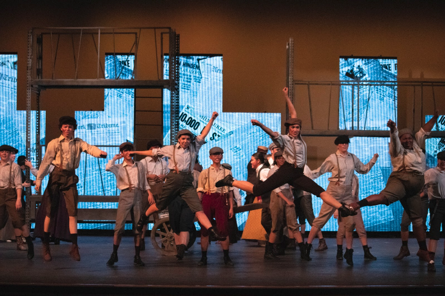 The+Coppell+High+School+theatre+department+practices+their+fall+musical%2C+%E2%80%9CNewsies%E2%80%9D%2C+at+dress+rehearsal+on+Tuesday.+Guests+can+attend+%E2%80%9CNewsies%E2%80%9D+this+Friday%2C+Saturday+and+Sunday%2C+as+well+as+Nov.+9+and+10.