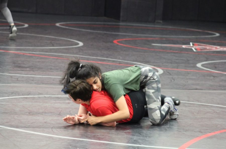 Coppell junior Ananya Sampathkumar wrestles senior Trinity Zapata in a practice match in January last season. Coppell is hosting the Coppell Round-Up tomorrow in the Coppell High School Field House at 9 a.m. Sidekick file photo