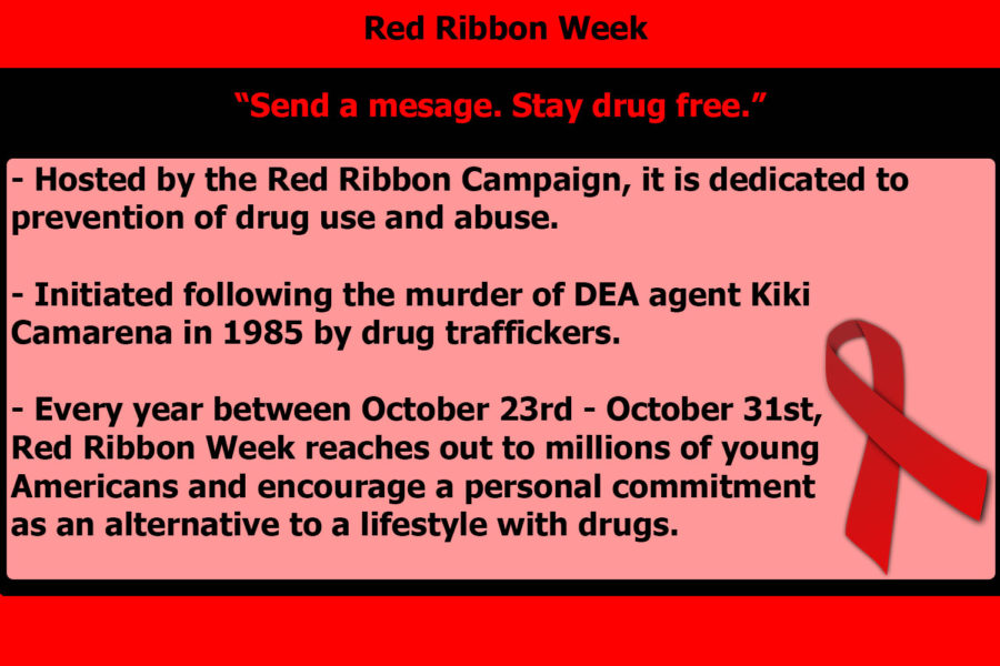 Red Ribbon Week was initiated following the murder of DEA agent Kiki Camarena by drug traffickers in Mexico City. Annually between October 23 - October 31st, millions of young Americans are encouraged to take part in a drug-free activity or commitment.
