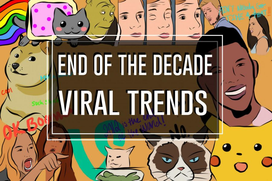 Senior Sidekick staff writer Nanette Pottoore discusses the top trends of this decade. She reviews popular phrases and memes such as Nyan Cat, vines and more. Graphic by Shriya Vanparia.