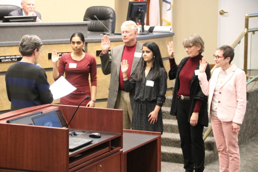 Coppell Mayor Karen Hunt appoints Divya Ravindra, Kevin Erickson, Shivi Sharma, Margaret Bryan and Maurenn Corcoran to the Parks and Recreation Board at Coppell Town Center on Tuesday. Ravindra and Sharma are juniors at CHS. Sharma is the CHS9 Editor for The Sidekick.