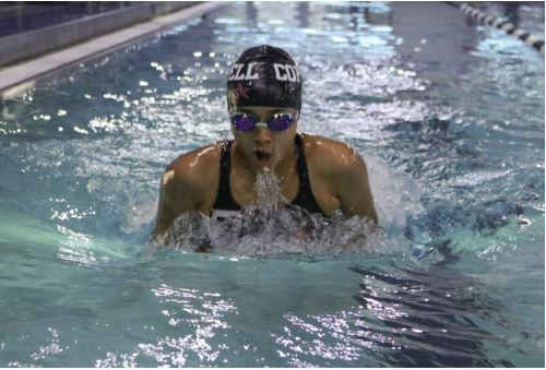 Coppell junior Angeline Pereira practices her breaststroke during practice on Wednesday at the Coppell YMCA. Pereira is apart of the Coppell JV swim team.