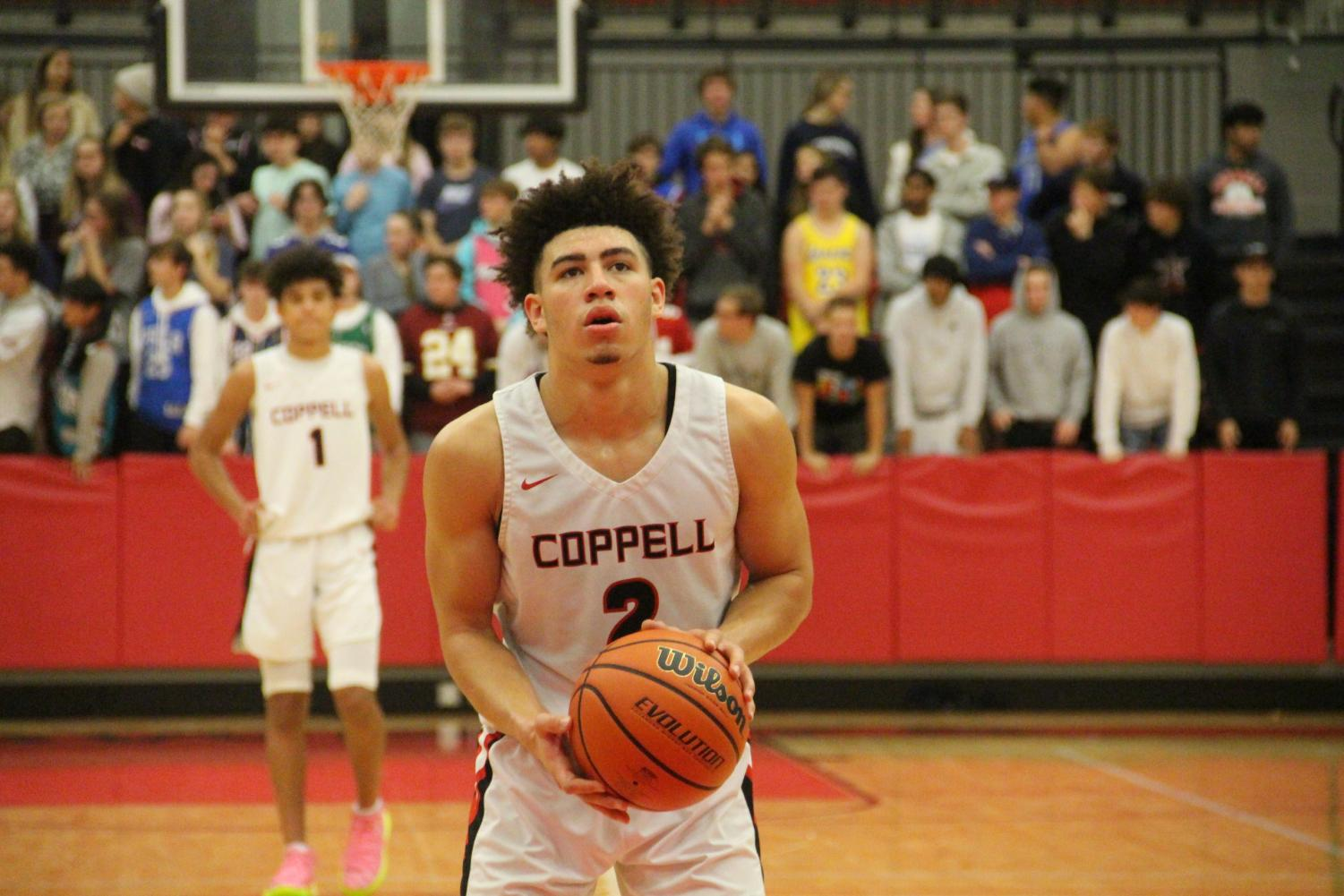 Coppell senior guard Brandon Taylor attempts a free throw in the CHS Arena on Tuesday against Timber Creek.