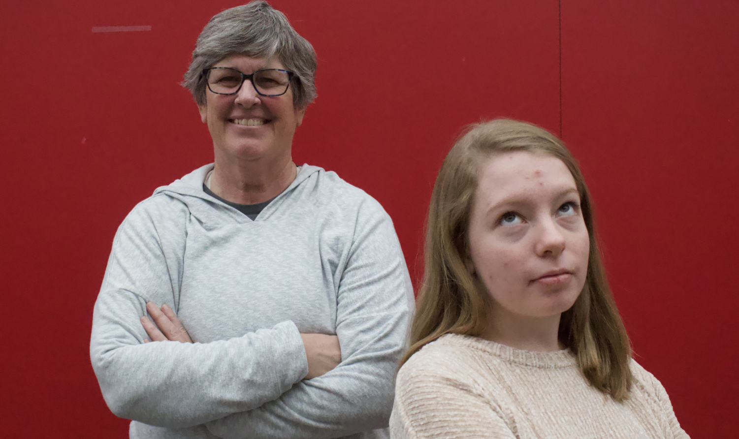 """Coppell High School Principal Laura Springer and The Sidekick executive editorial page editor Claire Clements stand together. Clements believes using the phrase """"OK Boomer"""" should simply be a harmless joke, not something to divide generations."""