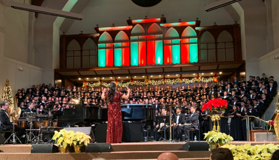 Coppell High School director of choirs Bona Coogle conducts the CHS Choir during the annual Winter Concert at the White's Chapel United Methodist Church in Southlake on Monday. The CHS Choir was joined by Carroll High School as they come together to celebrate the beginning of the holidays. Photo courtesy Cindi Osbourne.