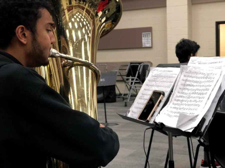 Coppell High School junior Amogh Waranashiwar rehearses his etude for the band's TMEA All-Region auditions starting today at 5:30 p.m. at CHS. Brass and percussion auditions are today, with woodwinds yesterday and advancing musicians returning on Saturday for the Phase 2 round.