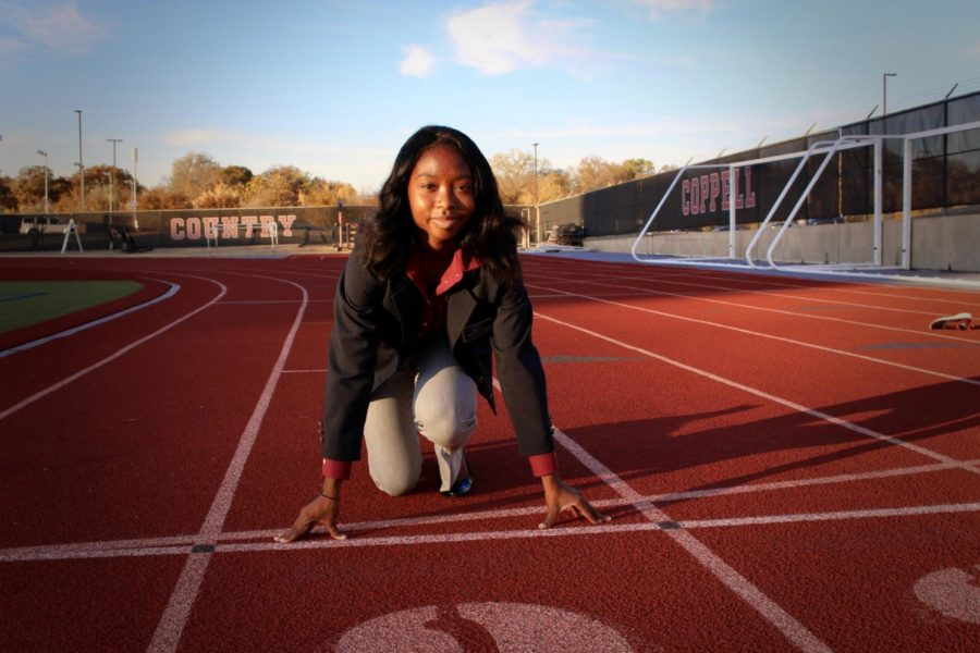 New Tech High @ Coppell senior Sikyra Castle is not only on the Coppell varsity track team, but also in DECA as the state president. Castle hopes to pursue business after she graduates from high school.