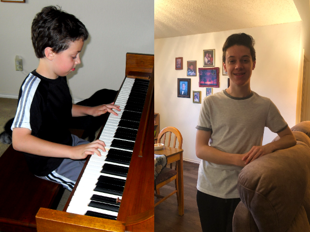 The+Sidekick+editor-in-chief+Anthony+Cesario+plays+the+piano+at+age+9+%28left%29+and+stands+in+the+space+where+his+piano+used+to+be+in+his+living+room+as+a+high+school+senior+%28right%29.+Cesario+took+piano+classes+for+eight+years+and+stopped+playing+when+he+was+a+freshman.