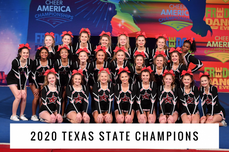 The Coppell cheer team competed at Cheer America in San Antonio on Jan. 19. The team placed first, winning the title of Texas State Champions for its division, large intermediate.