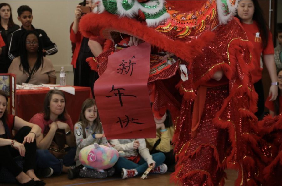 The Lion dance, performed by Coppell High School junior Kevin Ly and senior Kaitlyn Chieh attracts many attendees during the Chinese New Year event on Saturday afternoon at the Cozby Library and Community Commons. Attendees had an opportunity to understand more about the Chinese New Year and experienced all the cultural activities by themselves.