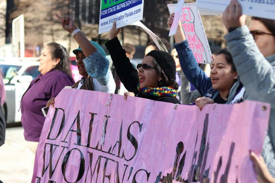 Protesters march to Dallas City Hall at the 2020 Dallas Women's March on Jan. 19. The Sidekick executive editorial page editor Claire Clements discusses the importance of people identifying as feminists.