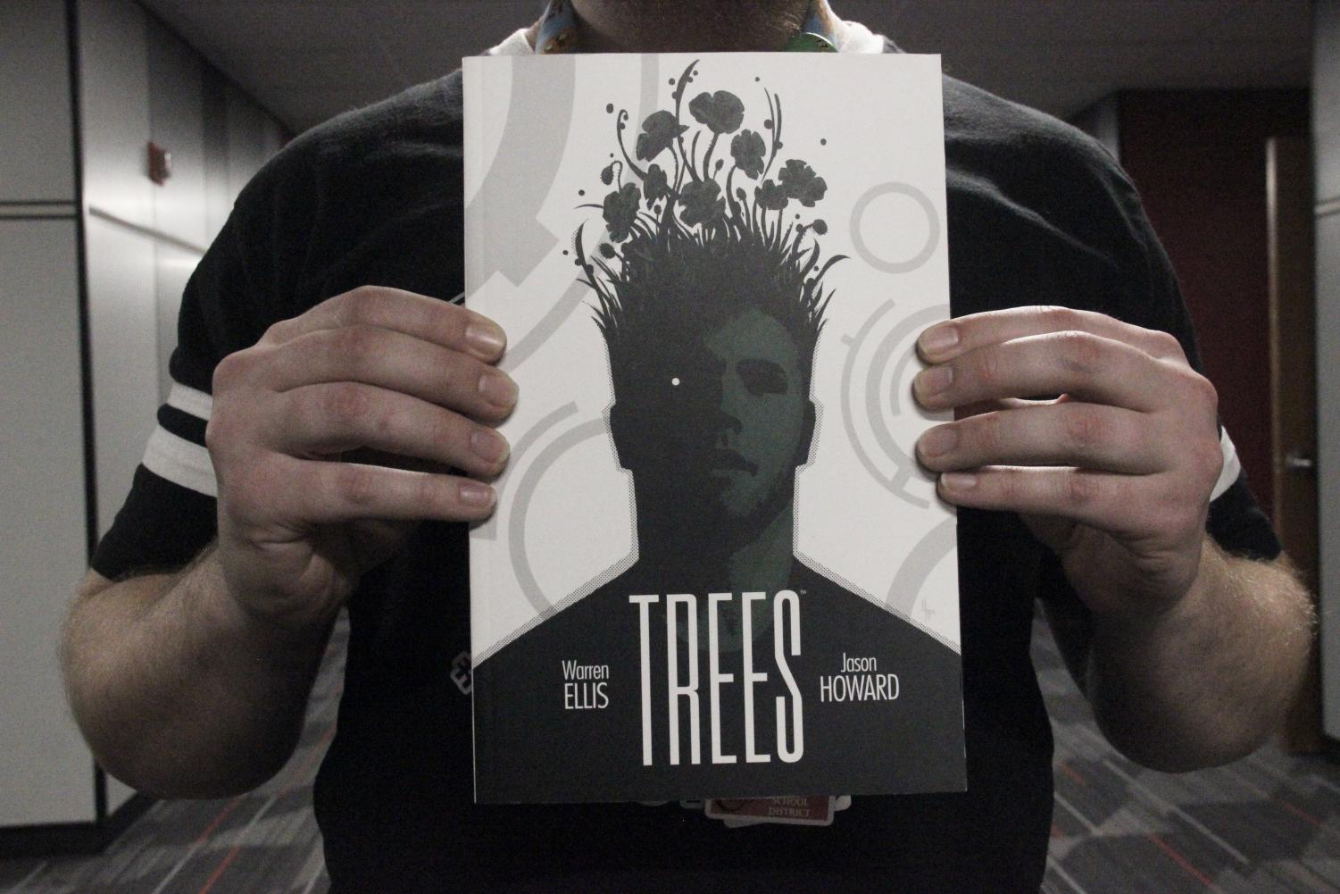 One of Coppell High School AP English IV teacher Alexander Holmes's comic book favorites is Trees by Warren Ellis and Jason Howard. Holmes is passionate about storytelling, art and comics and is excited to teach a comic book class next year that can be selected instead of other English core classes.