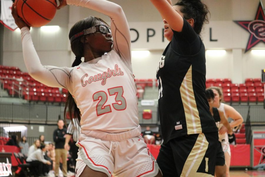 Coppell senior guard Nicole Obialo attempts to pass around Irving junior guard Bessy Alvarado yesterday at the CHS Arena. The Cowgirls defeated the Tigers, 60-20.