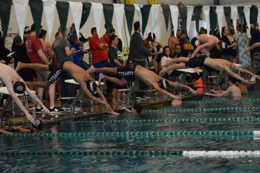 The+Coppell+boys+swim+team+placed+first+in+the+Tex+Robertson+Invitational+at+the+YMCA+of+Highland+Lakes+on+Jan.+4.+The+team+goes+to+Southlake+for+the+District+6-6A+Championships+from+Jan.+17-18+at+the+Carroll+ISD+Aquatics+Center.+