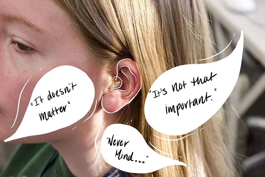 The Sidekick executive editorial page editor Claire Clements wears a hearing aid daily in order to improve her hearing abilities, which most students at Coppell High School are unaware of. Clements deals with people refusing to repeat what they say every day.