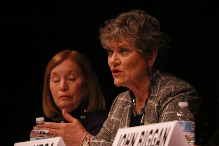 Kim Olson, a candidate for the Democratic nomination to Texas' 24th district in the U.S. House of Representatives, references her experience as a colonel in the U.S. Air Force on Feb. 11. The Irving Arts Center hosted the TX Congressional District 24 Democratic Primary Debate where six candidates spoke their mind on pressing political issues.