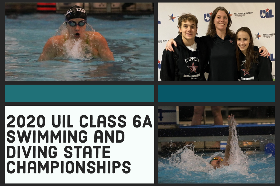 Coppell seniors Aurelie Migault (top left) and Johan Pretorius (bottom right) competed in the UIL Class 6A Swimming and Diving Meet at the Lee and Joe Jamail Texas Swimming Center in Austin on Friday and Saturday. Migault finished 13th place in the girls 100-yard breaststroke and Pretorius placed 14th in the boys 100-yard backstroke. Photos by Sally Parampottil and courtesy @CoppellSports1.