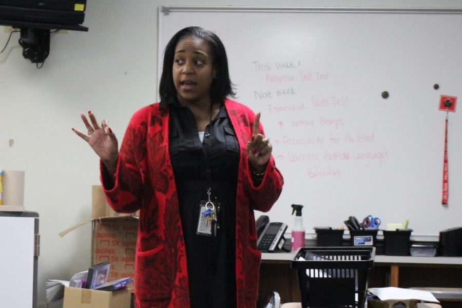 Coppell High School American Sign Language teacher Erika Trammell teaches signing phone numbers and addresses with her seventh period class on Tuesday. Trammell and the CHS ASL team are teaching classes about Black ASL and influential Deaf African American people in honor of Black History Month.