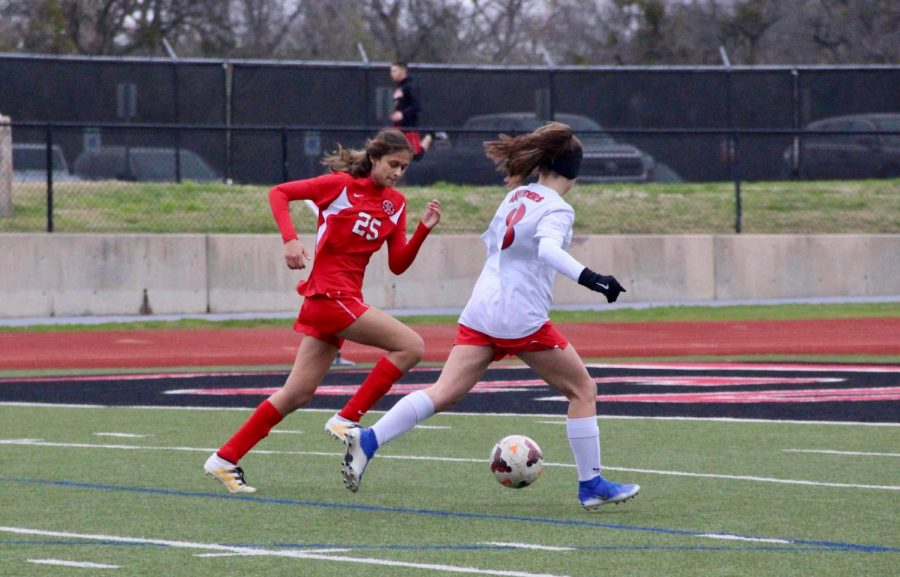 Coppell senior JV2 defender Aditi Patel runs to make a tackle against Flower Mound Marcus on Tuesday. Patel plans to pursue civil engineering after high school.