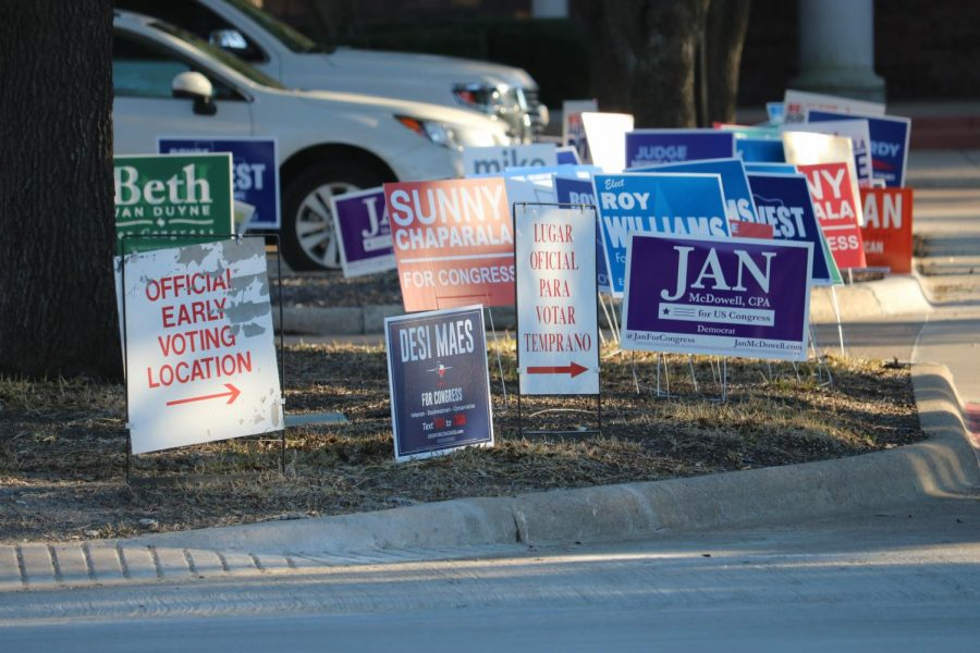 An+abundance+of+campaign+signs+decorate+the+lawn+in+front+of+Coppell+Town+Center.+Early+voting+for+Texas+primaries+runs+through+Friday%2C+Election+Day+is+March+3.+Photo+by+Ava+Mora