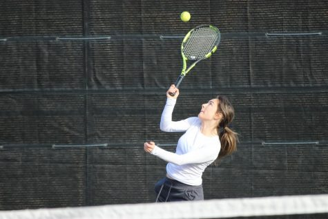 Coppell senior Reagan Stone returns a shot during her doubles match at the CHS Tennis Center on Friday. The Coppell Super Bowl spanned Friday through Saturday and saw 16 teams compete, some traveling from as far as Houston.