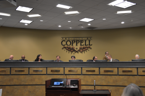 Coppell City Council members discuss potential decrease in annual revenue for Coppell at the meeting at Town Center yesterday. Issues such as a possible 16% decrease in revenue and the process of answering census questions were discussed.