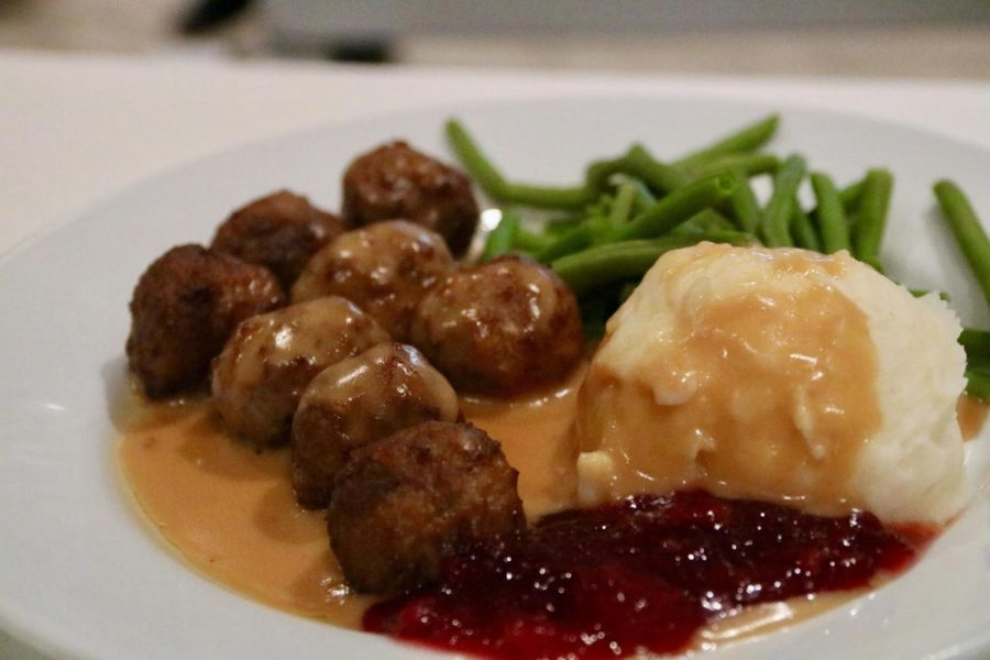 IKEA serves meatballs in its restaurant with mashed potatoes, green beans and lingon sauce. The Sidekick staff photographer Lilly Gorman reviews various foods at IKEA.