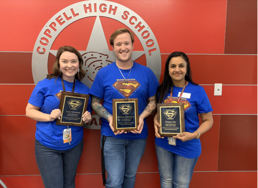 CHS9+Algebra+I+teachers+Lucy+Grimmett%2C+William+Harrington+and+Gunjan+Jain+receive+Super+Teacher+awards+from+Coppell+ISD+on+Feb.+21+for+creating+a+unique+final+project+for+their+students.+CISD+gives+out+Super+Teacher+awards+three+times+a+year+to+teachers+at+each+campus+who+are+doing+something+innovative+for+their+students.+