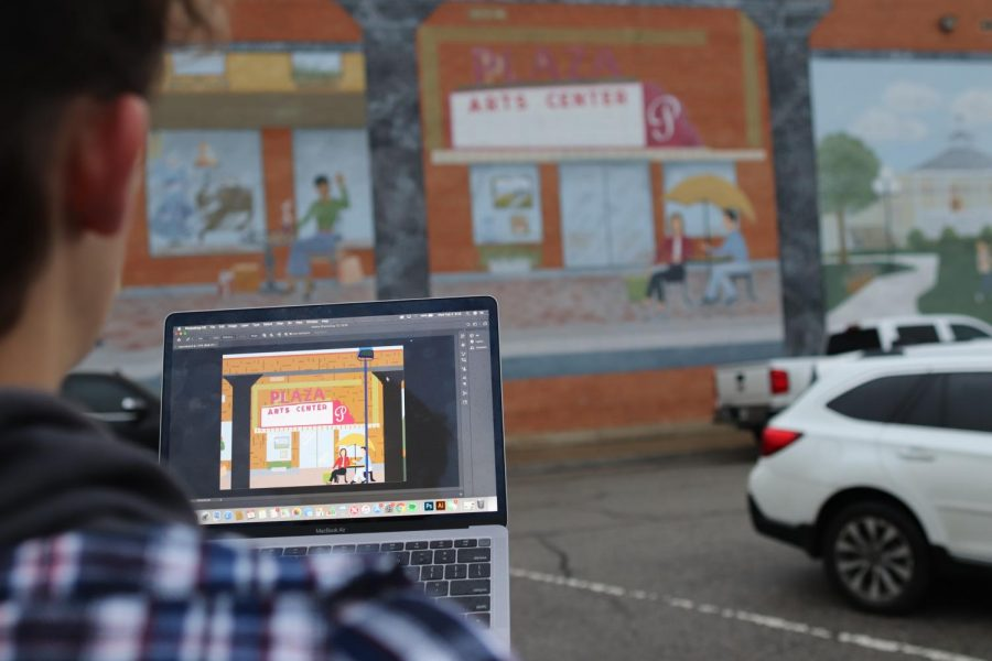 Digital design programs such as Adobe Photoshop can be used to recreate physical pieces of art, including this mural in Downtown Carrollton depicting the Plaza Arts Center. Digital art has become a more popular medium in the art world throughout the last few decades, creating a new platform for artists.