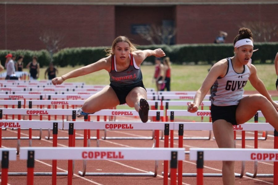 Coppell junior runner Issabela Hinojos places first in the girls JV 100-meter hurdles on Saturday at Buddy Echols Field. Overall, the girls placed second and boys placed third in the Coppell Relays.