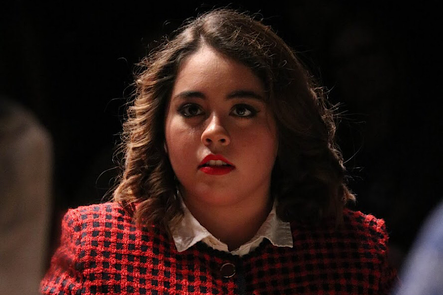 "Coppell High School junior Sidekick staff writer Camila Villarreal plays Juror 7 in the CHS student-directed play ""12 Angry Jurors"" on Feb. 21 in the CHS Black Box. Villarreal played a racist character in the show, which hit close to home as she has been the victim of racists actions and comments in the past."