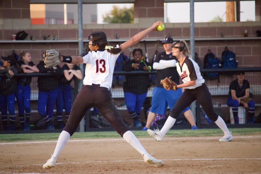 Coppell sophomore pitcher Rhyan Pogue pitches last season at the Coppell ISD Softball Complex. Coppell plays Midlothian at 7 p.m. at the Coppell ISD Softball Complex.
