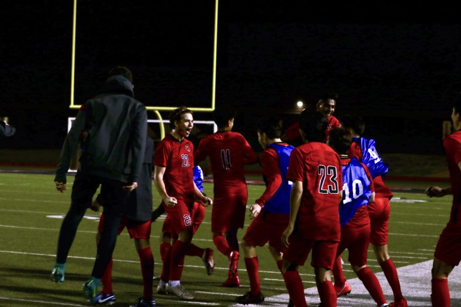 Coppell's bench erupts with celebration as the final whistle is blown at Buddy Echols Field on Tuesday against Marcus. Coppell won, 2-1, against Marcus, the No. 1 team in Texas.