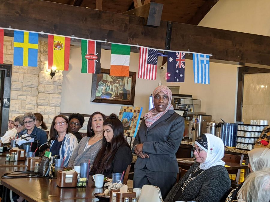 Medical professional Jessie Brown talks about her experiences as a woman at a Women's Day event at Andalous Mediterranean Buffet in Richardson on March 8. The event commemorated International Women's Day and Women's History Month.