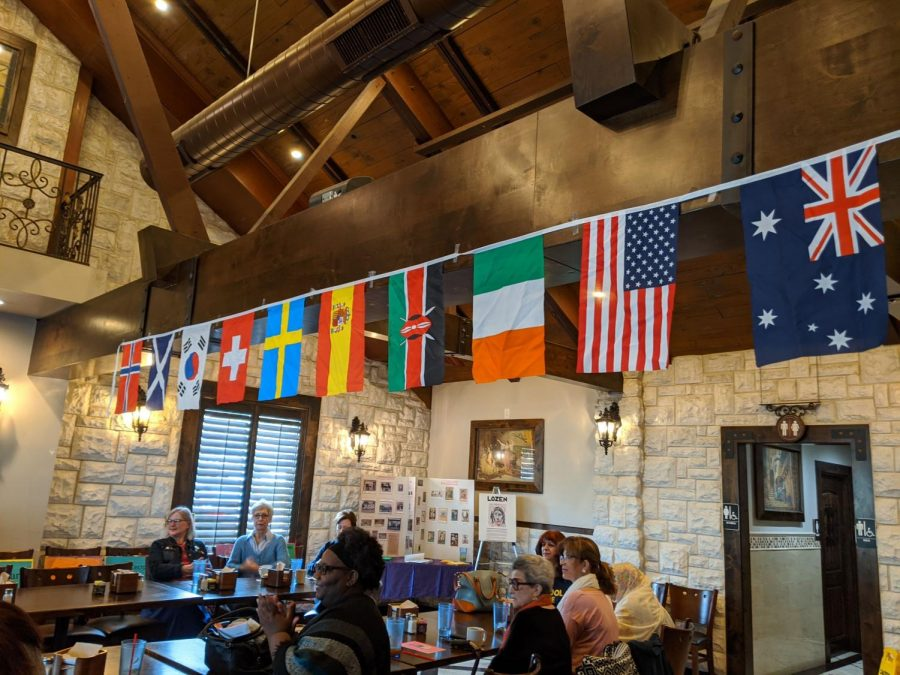 Flags of various countries decorate the Andalous Meditterean Banquet Room for a Women's Day event at Andalous Mediterranean Buffet in Richardson on March 8. The event commemorated International Women's Day and Women's History Month.