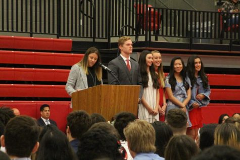 Former Coppell High School Principal Dr. Nicole Jund recognizes the senior Student Council officers at the class of 2019 senior awards in the CHS Arena on May 22. For the class of 2020, Principal Laura Springer announced the cancellation of the graduation ceremony at the University of North Texas on May 28 in an email this morning.