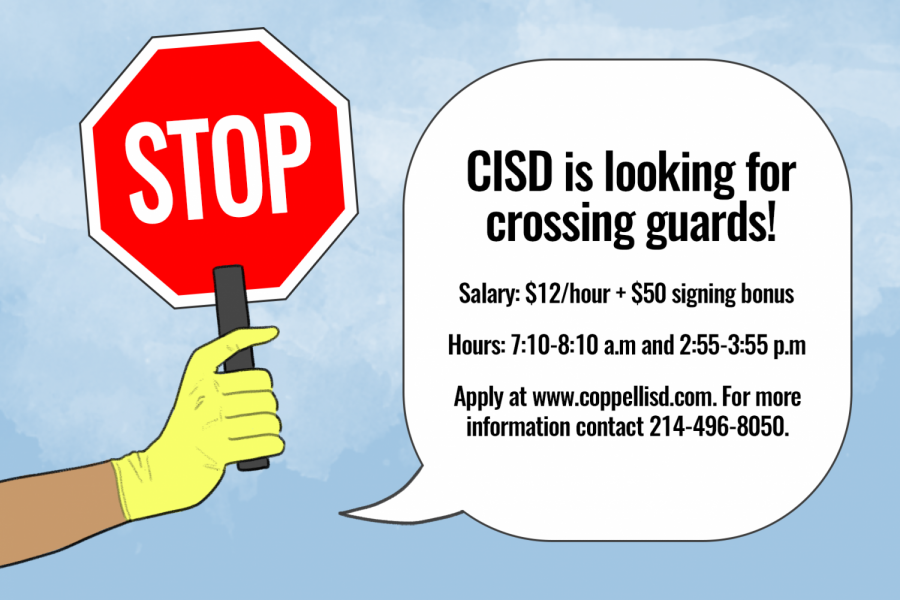 Coppell+ISD+is+searching+for++community+members+who+can+be+crossing+guards+for+elementary+and+middle+schoolers.+Those+hired+are+expected+to+guide+students+across+neighborhood+streets+and+help+control+pedestrian+traffic.