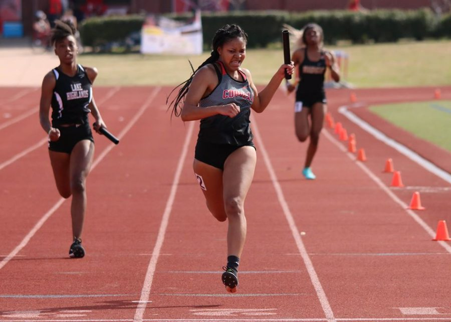 Coppell sophomore D'Aira Green runs anchor leg for the 200-meter relay at Buddy Echols Field on Feb. 29. Her passion for competing and her positive mindset helped her work hard to get past her hip injuries. Courtesy photo from D'Aria Green.