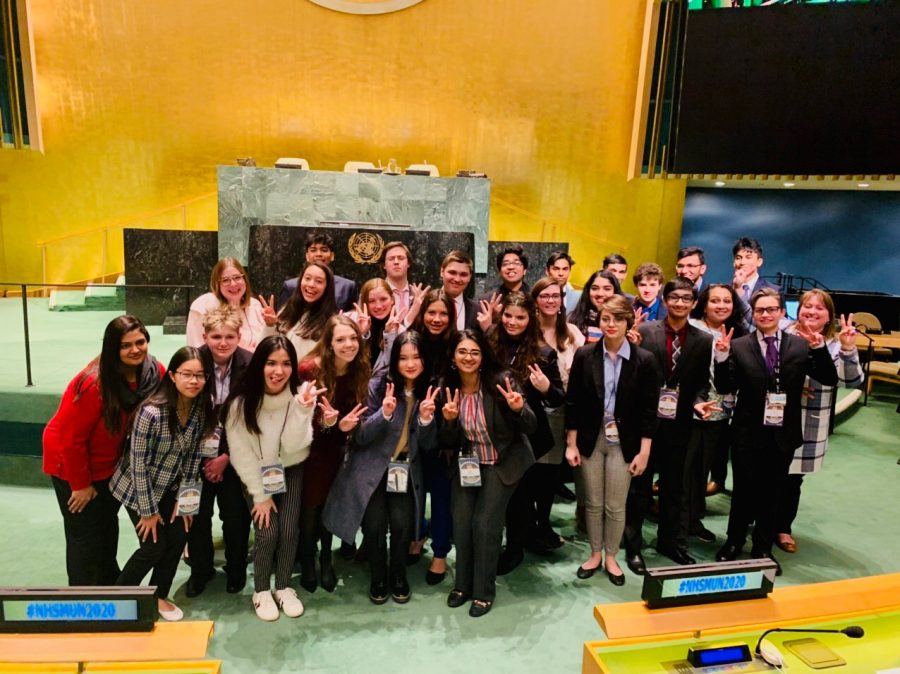New Tech @ Coppell's Model United Nations team stands at the Model UN conference in New York on Feb 29. New Tech brought home its first Excellence Award for Research and Preparation Award in its first year of competing internationally. Cutline by Yash Ravula.
