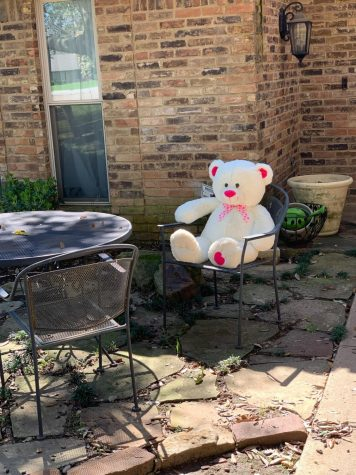 Coppell resident Karen Williams puts a bear near the front door for the community Bear Hunt. The challenge brings positivity to Coppell residents during the spread of the COVID-19 virus.