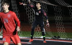 Coppell sophomore goalkeeper Arath Valdez checks his teammates during the match against Lewisville on Jan. 3 at Buddy Echols Field. Valdez is the starting goalkeeper for the Coppell boys soccer team, having beat out two seniors for the spot.