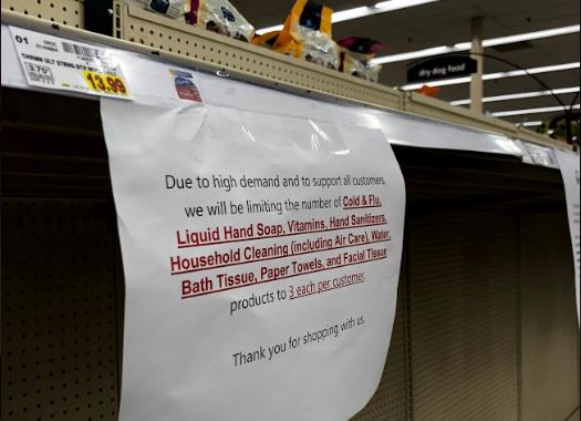 Efforts to curb panic shopping due to COVID-19 are being put in place at an Irving Kroger. The store is limiting the number of essential products such as hand sanitizer and paper towels shoppers can buy to three per customer.