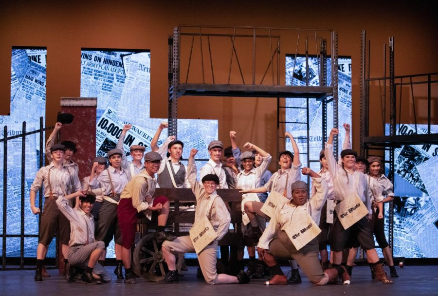"Coppell High School and New Tech High @ Coppell students participate in the CHS fall musical, ""Newsies,"" which took place Nov. 1-3 and 9-10. The production was nominated for 14 Schmidt & Jones HS Musical Theatre Awards."