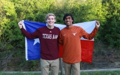 On March 26 at Grapevine Springs Park, Coppell High School senior Leo Swaldi, who is attending A&M this fall, takes a photo with CHS senior Rushil Nakkana, who is attending UT Austin. With the rise in competitiveness of acceptances, CHS students' have increased flexibility in which of the two colleges they apply to and are less bound by family traditions.