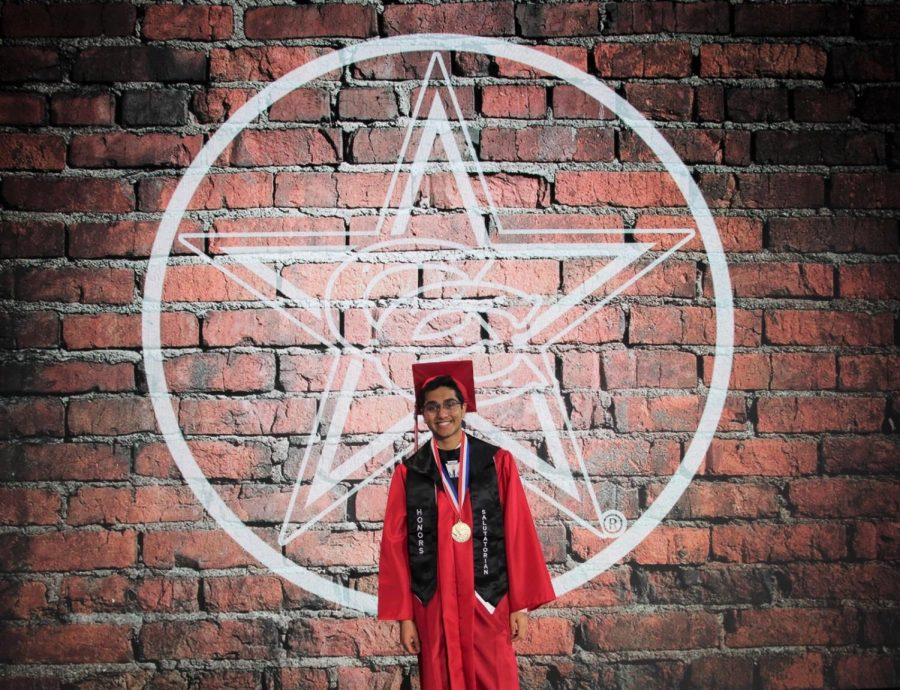Coppell High School senior Het Desai filmed virtual graduation at Event Technology Services in Coppell on Wednesday. Desai was named the salutatorian of the class of 2020 and plans to attend the University of Texas at Austin alongside CHS senior valedictorian Prayaag Gupta.