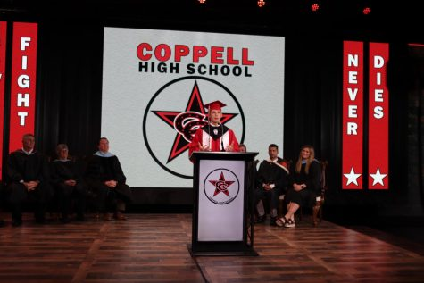 Coppell High School senior class president Leo Swaldi gives his speech at virtual graduation at Event Technology Services on Wednesday. CHS is holding a virtual graduation ceremony on May 28.