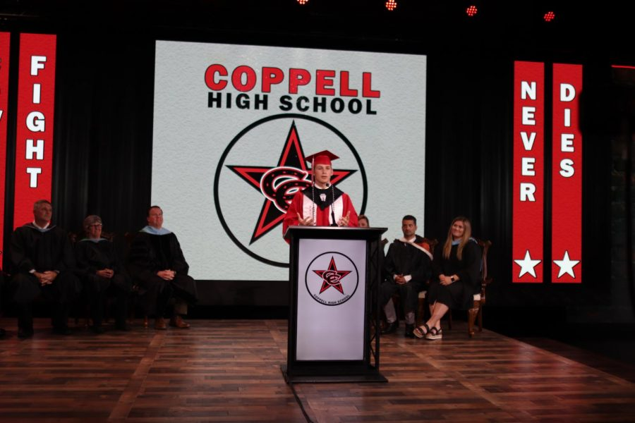 Coppell+High+School+senior+class+president+Leo+Swaldi+gives+his+speech+at+virtual+graduation+at+Event+Technology+Services+on+Wednesday.+CHS+is+holding+a+virtual+graduation+ceremony+on+May+28.+