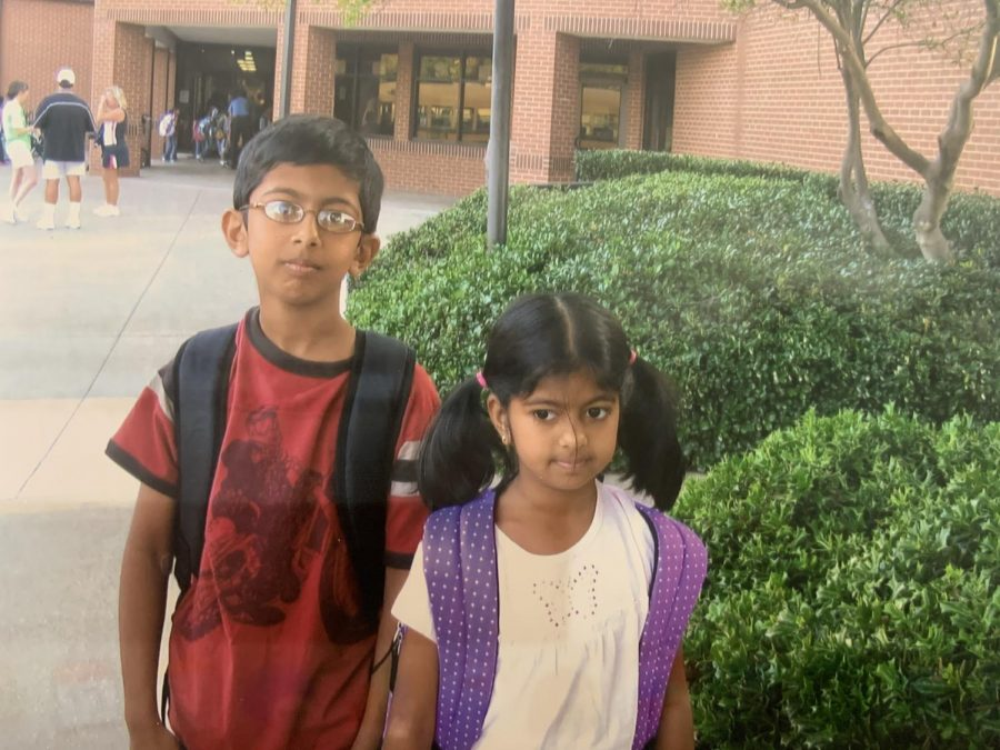 The+Sidekick+staff+writer+Anvitha+Reddy+enters+Mockingbird+Elementary+school+at+age+5+on+her+first+day+of+kindergarten+with+her+brother+St.+Mark%27s+School+of+Texas+senior+Neal+Reddy.+Anvitha+reflects+on+the+lessons+she+has+learned+during+her+11+years+in+Coppell+ISD.+