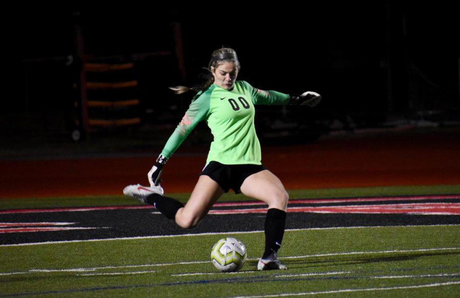 Coppell senior goalkeeper Lauren Kellett takes a goal kick on Jan. 24 against Irving MacArthur at Buddy Echols Field. Kellett is one of 12 Cowgirls awarded a District 6-6A award.